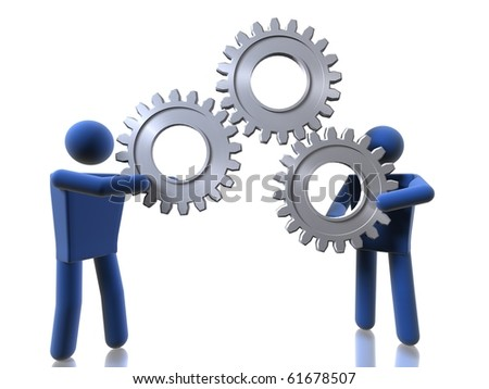 3D people carrying cogs - stock photo