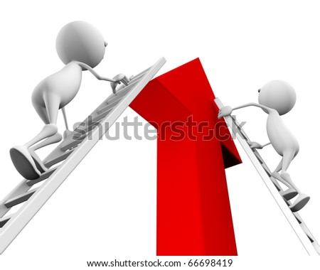 3d people climb up the ladder on the arrow on a white background.