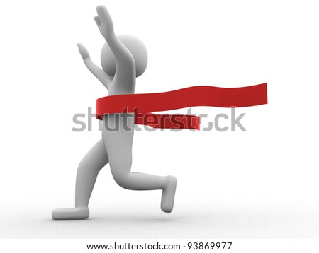 3d people crossing the finishing line - This is a 3d render illustration