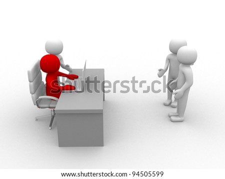 3d people - employee and employer in the meeting. 3d render illustration