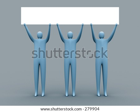 3d people holding an empty template for you to use as you like.