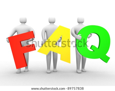 3d people holding Friendly asked question sign. This is 3d render illustration
