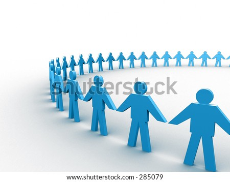 people holding hands in circle. 3d people holding hands in