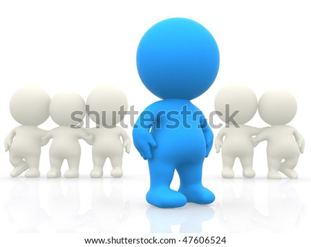 3D people hugging and a person standing out - isolated over white