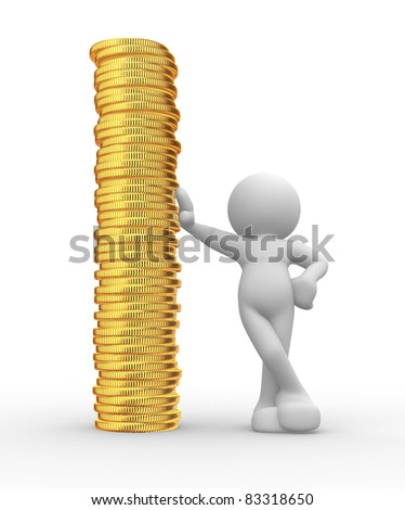 3d people - human character and a stack of coins. 3d render illustration