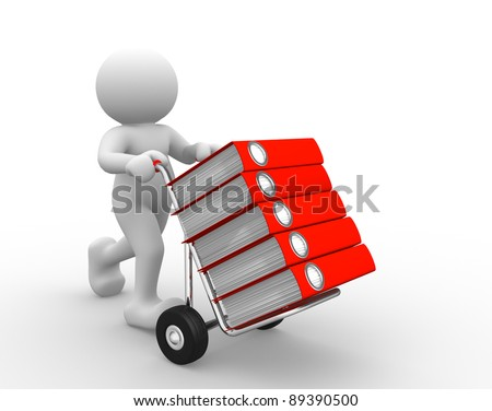 3d people - human character and  hand-truck with folders. 3d render illustration