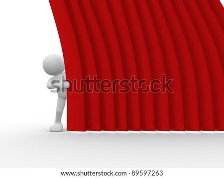 3d people - human character and stage curtain. 3d render illustration