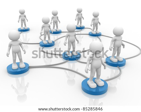 3d people- human character arranged in a network. 3d render illustration