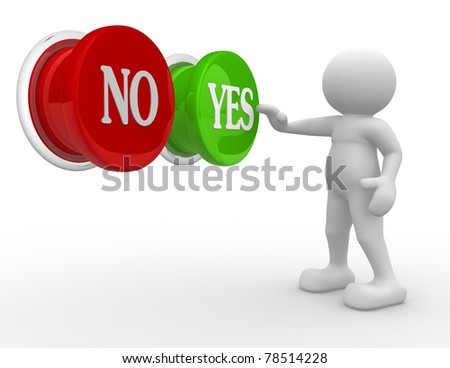 "3d people- human character choosing between ""yes""or ""no""-  This is a 3d render illustration"