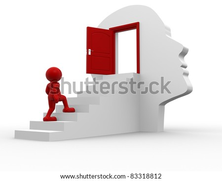 3d people - human character  climbing the stairs to the open door - this is a 3d render illustration