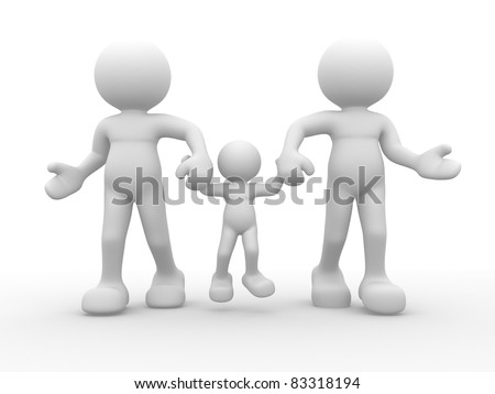 3d people -human character - family happy. This is a 3d render illustration