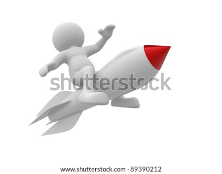 3d  people- human character flying on the rocket. 3d render illustration