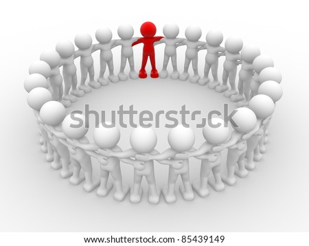 3d people - human character in circle with leadership.3d render illustration