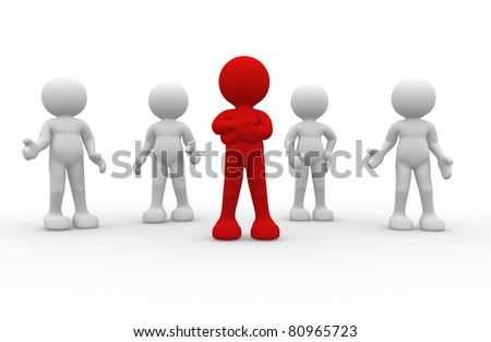 3d people- human character leadership and team - This is a 3d render illustration