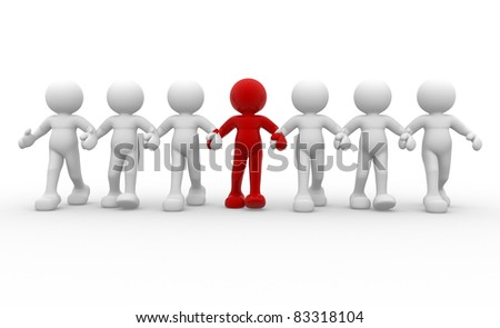 3d people -human character leadership and team - This is a 3d render illustration