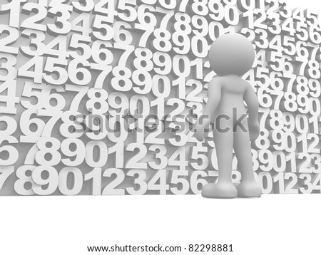 3d people, human character on a wall of numbers.This is a 3d render illustration