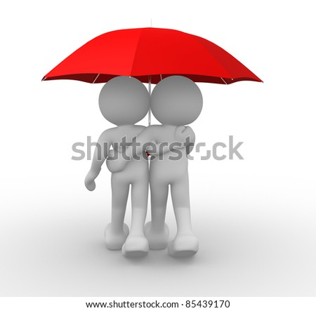 3d people- human character people under the umbrella - This is a 3d render illustration