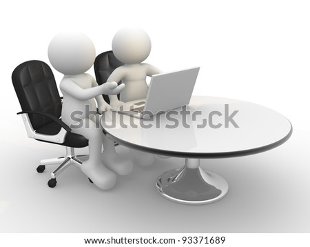3d people - human character , person and a laptop at a office. Business partners. 3d render