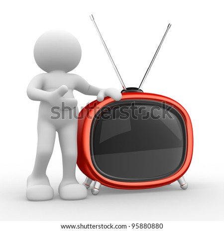 3d people - human character, person  and a old tv. 3d render