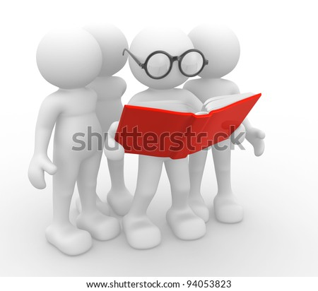 3d people -human character, person and a open book. 3d render