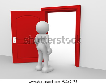 3d people - human character , person and a open door - 3d render