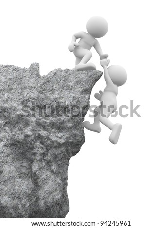 3d people - human character , person and a rock . Helping hand. 3d render