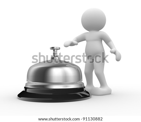 3d people - human character -  person and a silver bell. 3d render  . 3d render illustration