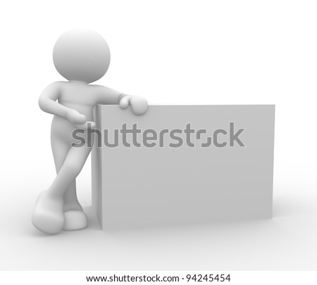 3d people - human character, person  and blank board ( cube - box). 3d render