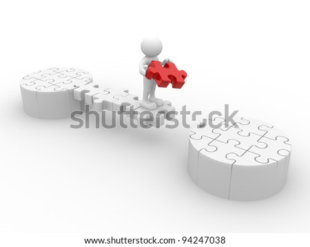 3d people - human character, person and last piece of puzzle ( jigsaw ) . 3d render illustration