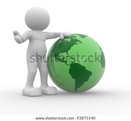 3d people - human character, person and the earth globe -This is a 3d render illustration