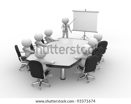 3d people - human character, person  at conference table and a flipchart . 3d render