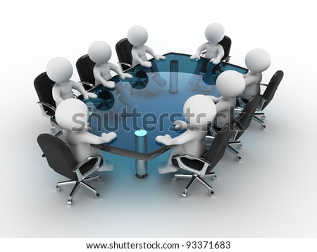 3d people - human character, person at conference table . 3d render