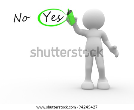 3d people - human character, person choosing between yes and no. Checkmark  a pencil. 3d render illustration