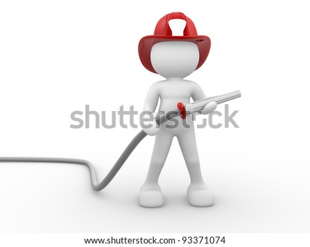 3d people - human character , person - fireman and a hose. 3d render