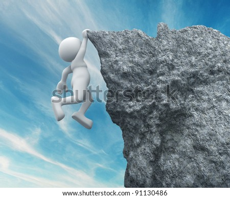 3d people - human character ,  person hanging from a cliff .  3d render illustration