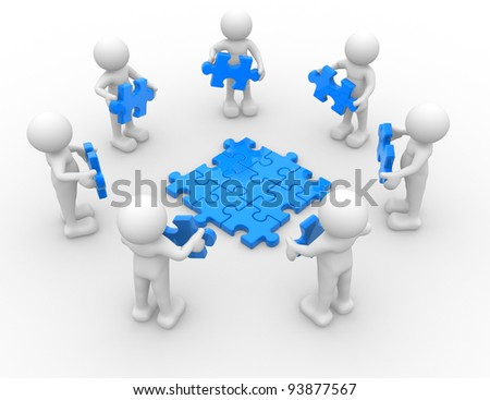 3d people - human character , person in circle, and puzzle pieces ( jigsaw ). 3d render