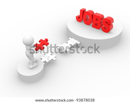 "3d people - human character - person. Last jigsaw ( puzzle ) and word ""jobs"". 3d render illustration - stock photo"