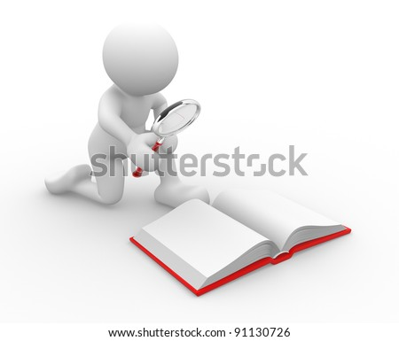 3d people - human character , person  looking  with a magnifying glass in an open book .  3d render illustration