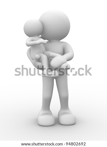 3d people - human character, person. Mom with child. 3d render