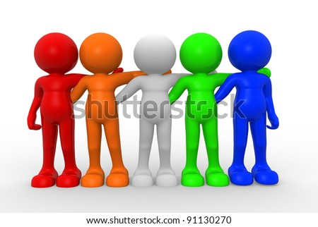 3d people - human character ,  person of different nationalities , friends together . 3d render