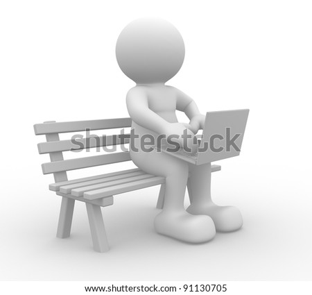 3d people - human character ,  person on a bench with laptop .  3d render