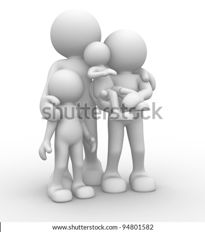 3d people - human character, person. Parents with children. Concept of family. 3d render - stock photo