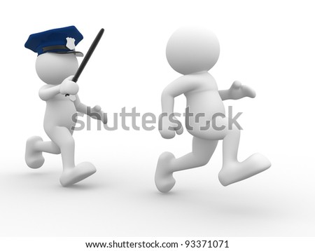 3d people - human character , person -  policeman and malefactor.   3d render