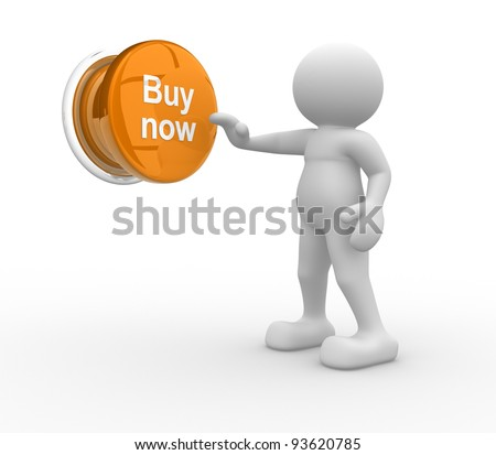 "3d people- human character , person pressing a button "" Buy now "". 3d render illustration"