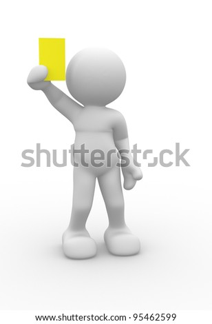 3d people - human character, person referee  with a showing a yellow card. 3d render