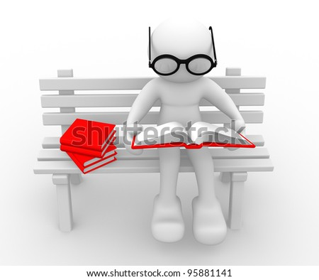3d people - human character - person sitting on the bench, and a read book. 3d render