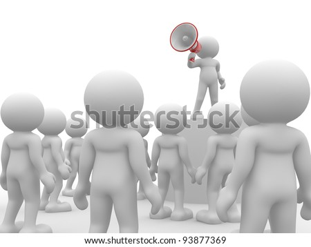 3d people - human character , person speaking at megaphone in front of the crowd. 3d render illustration