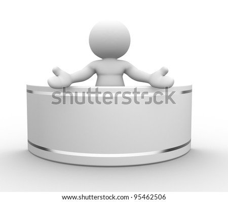 3d people-human character, person with a blank board . 3d render