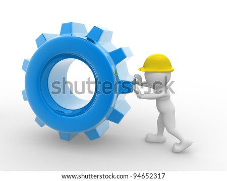 3d people - human character, person with a helmet and gear mechanism. Worker. 3d render