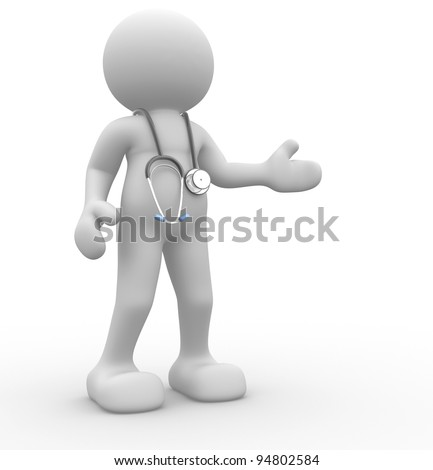 3d people - human character, person with a stethoscope. Doctor. 3d render